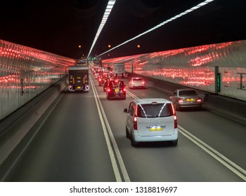 Road traffic in the tunnel
