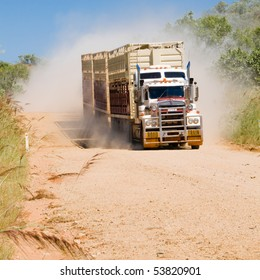 Road Train approaching on Gibb River Road, Western Australia