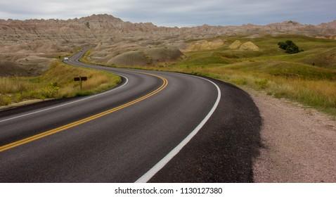 Road Traversing Badlands National Park in Western South Dakota