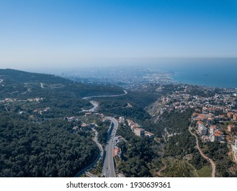 Road Trees Forest Aerial View Lebanon