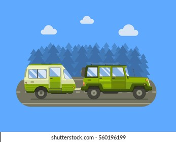 Road trip background with camping trailer and SUV driving on forest area. Family auto travel landscape. RV trailering concept landscape.