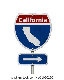 Road trip to California, Red, white and blue interstate highway road sign with word California and map of California isolated over white 3D Illustration