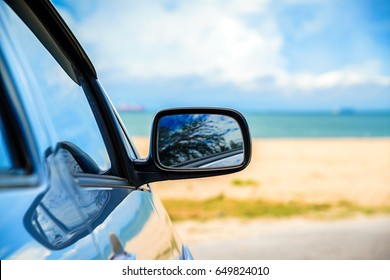 Road trip car on the beach, Summer holiday and car travel concept.