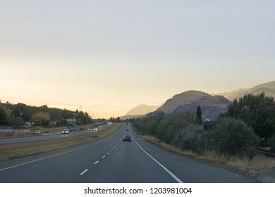 road trip, mountain range around kamloops, Canada in fall