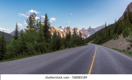 Road Trip on Mountain highway in Rocky Mountains, Banff, Alberta, Canada.