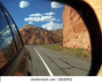 Road trip  - rear road view in Utah