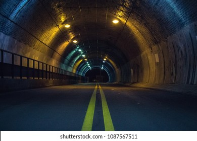 Road tunnel at night