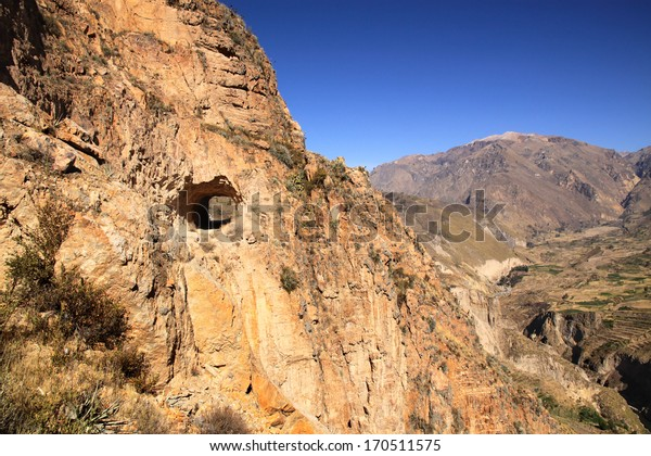 Road Tunnel on the edge of Colca Canyon, Peru, South America