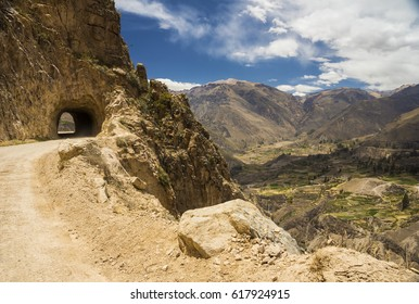 Road tunnel on the way to Cruz del Condor lookout point, Colca Valley, Arequipa, Peru