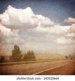 Road turn landscape - retro style picture