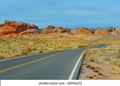 Road twisting among rocks in Nevada Fair State National Park