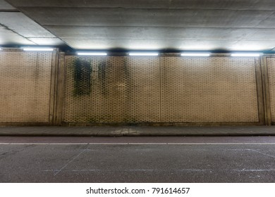 Road under bridge with white neon lights and mould