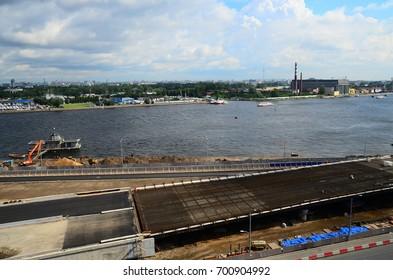 Road under construction. Vasilievsky island, Saint-Peterburg, Russia