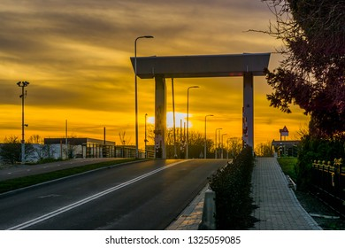 Road under the Rijnhavenbrug of Alphen aan den Rijn, The netherlands, Sunset with a colorful sky