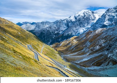 The road up the valley to the Stelvio Pass, Mt. Ortler to the right in the picture.