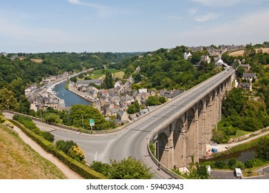 The road viaduct just outside of Dinan in France. The structure takes traffic across the valley and the river below