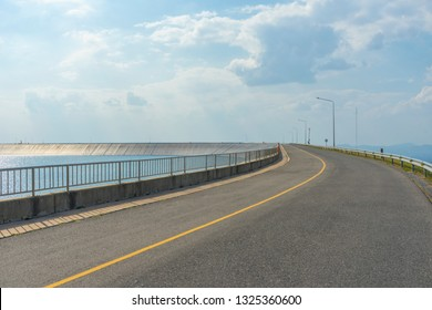 Road of view and blue sky on Lam Ta Kong Dam, Nakhon Ratchasima, Thailand.