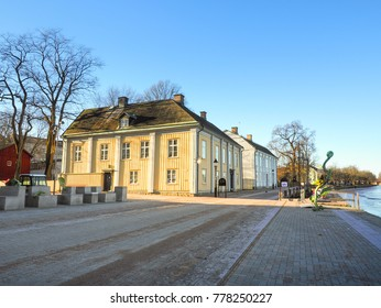 Road view in cityscape near the river in winter season with navy blue sky background, Karlstad, Sweden at 9 Feb 2016.