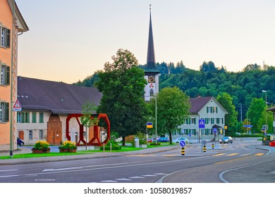 Road view on the street and Church in Turbenthal, Winterthur district, Zurich canton of Switzerland.