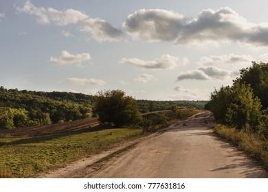 Road in the village. Beautiful landscape