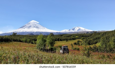 Road to a volcano.Kamchatka Peninsula. Russia.  The volcano of Klyuchevskaya sopka. (4800 m) is the highest active volcano of Eurasia.