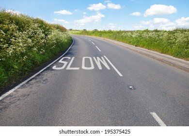 Road and warning sign