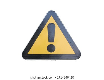 Road warning sign - exclamation point in a triangle. Isolated on a white background.
