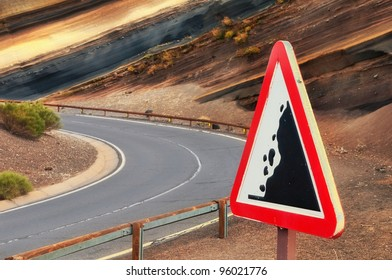 """Road warning sign """"falling stones"""", Tenerife, Canary islands, Spain"""