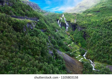 road and waterfalls in famous Flam valley, Norway