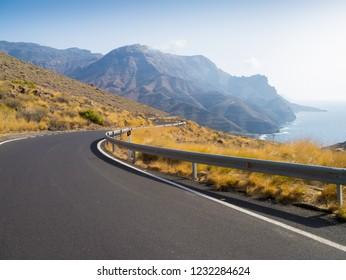 Road at the west coast of Gran Canaria
