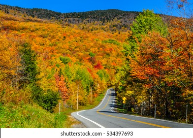 A road winds through the bright colors of fall in the Brandon Gap of Vermont.