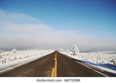 Road in the winter near Ben, Oregon.