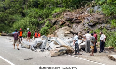 Road work to remove stones from the track after the blockage. Sri lanka. Peradeniya. October 2018.