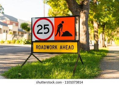 Road works 25 speed limit warning sign suburban side street