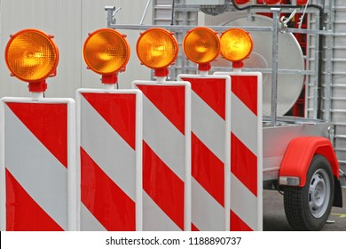 Road Works Barrier With Amber Beacon Lights Safety
