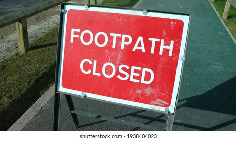 Road works, closed footpath on a sunny day