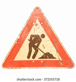 Road works sign for construction works in progress - isolated over white background vintage