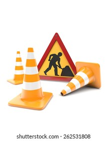 Road works, traffic cones and sign isolated with clipping path on white