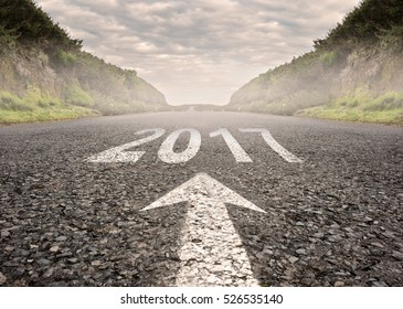 road with year 2017 painted on it