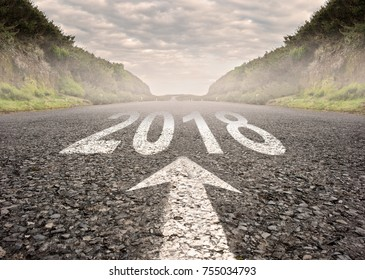 road with year 2018 painted on it