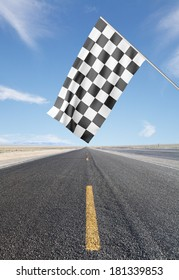 road with yellow arrow with Checker Flag