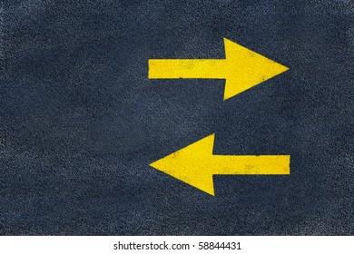 road yellow marking of arrows on asphalt