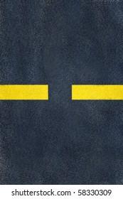 road yellow marking on asphalt, single discrete line