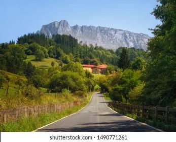 Road to Zaloa village in Orozko with Itxina mountain