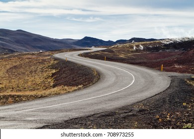 Road zigzag in the volcanic mountains of Iceland