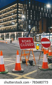 Roadblocks in the downtown of the night city during maintenance