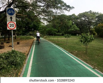 Roads for bicycles are built in separate parks off the main road. Only used for bicycles.