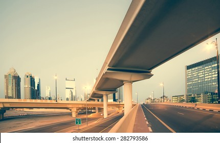 Roads and bridge at the Sheikh Zayed Road in Dubai in the evening, United Arab Emirates