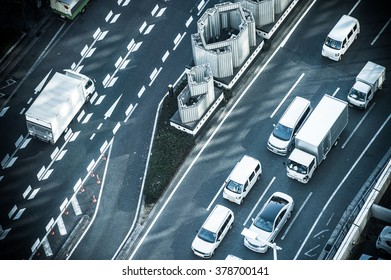 Roads and cars, shooting from above
