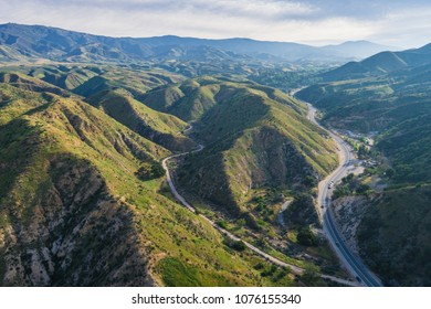Roads and homes nestled into the valleys of southern California's Canyon Country in Los Angeles County.